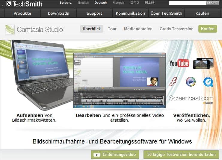 Camtasia Studio - Bildschirmaufnahme-Software
