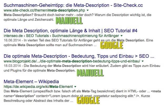 Abbildung 1: Gegensätzliche Philosophien: 2x manuelle Meta Description, 2x wurde diese von Google ausgewählt.