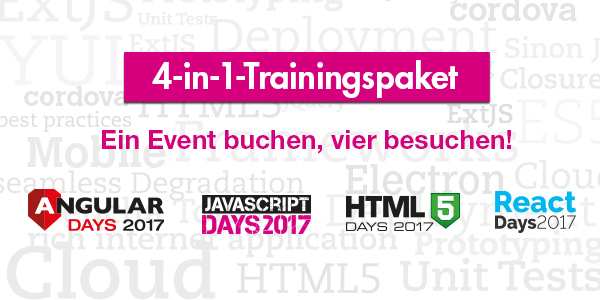JavaScript / Angular / HTML5 / React Days – Das große 4-in-1-Trainingsevent Entwicklung