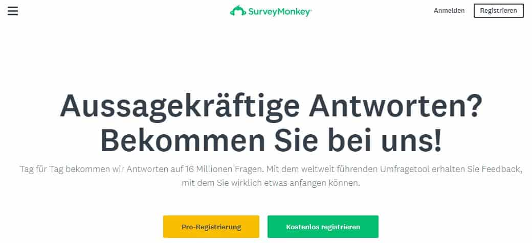 SurveyMonkey ist etwas höherpreisig, dafür aber sehr weitläufig in seinen Funktionen