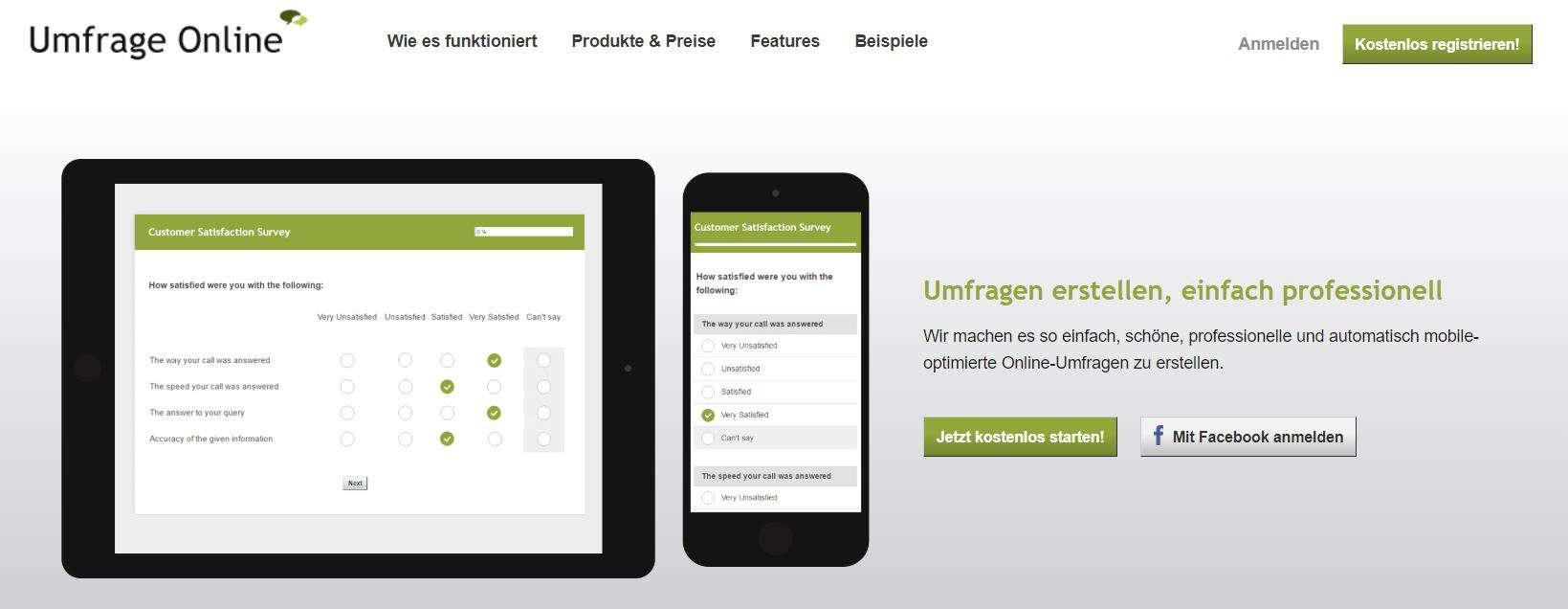 Umfrageonline.com ist ein sehr übersichtliches Tool, mit denen sich leicht Umfragen online erstellen lassen