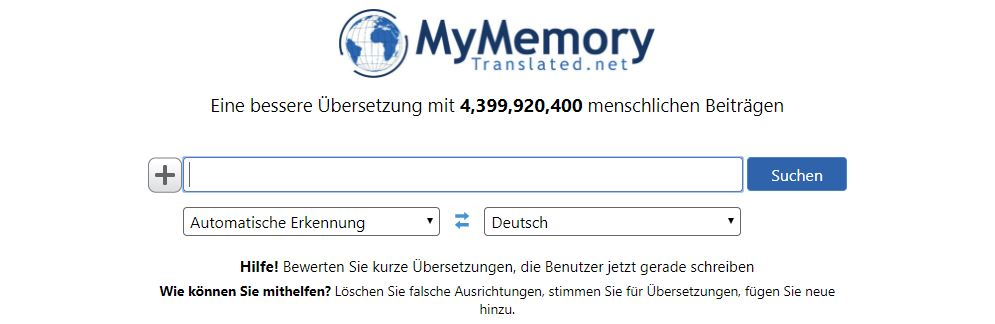 Übersetzungstool MyMemory