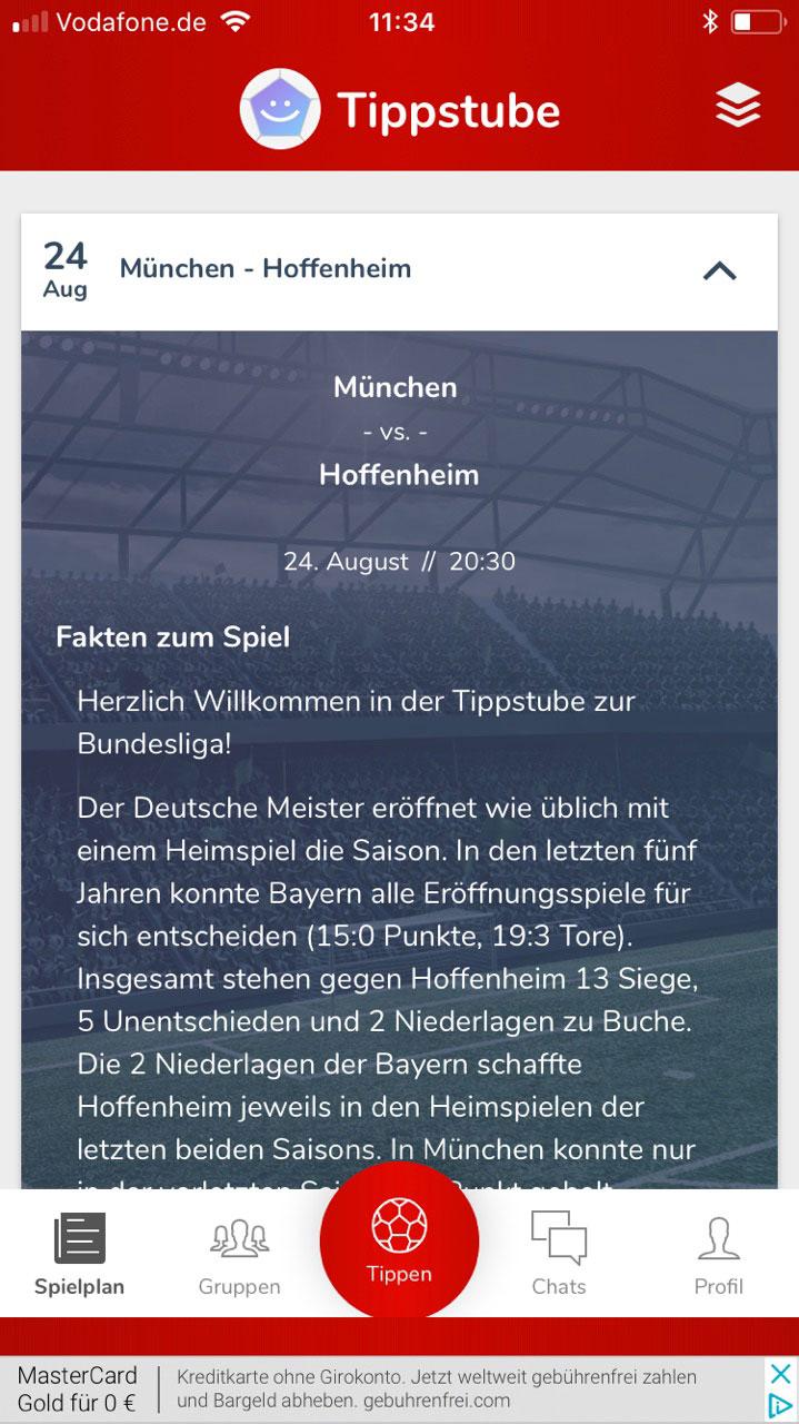 Die Fakten zum Spiel werden in der App Tippstube.de zu jedem Bundesligaspiel gestellt.