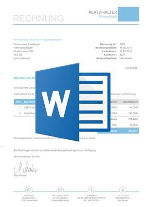 Download Rechnungsvorlage Kleinunternehmer Word Mit Icon