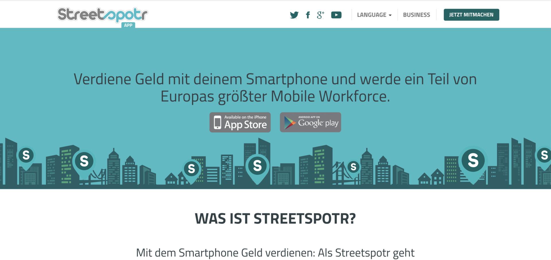 Durch Streetspotr mit dem Smartphone Geld verdienen - entweder als Heimarbeit oder für unterwegs