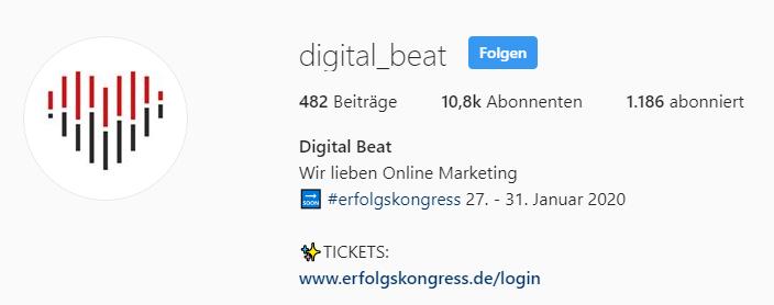 Digital Beat Instagram - Vorlage für mehr Instagram-Follower bekommen