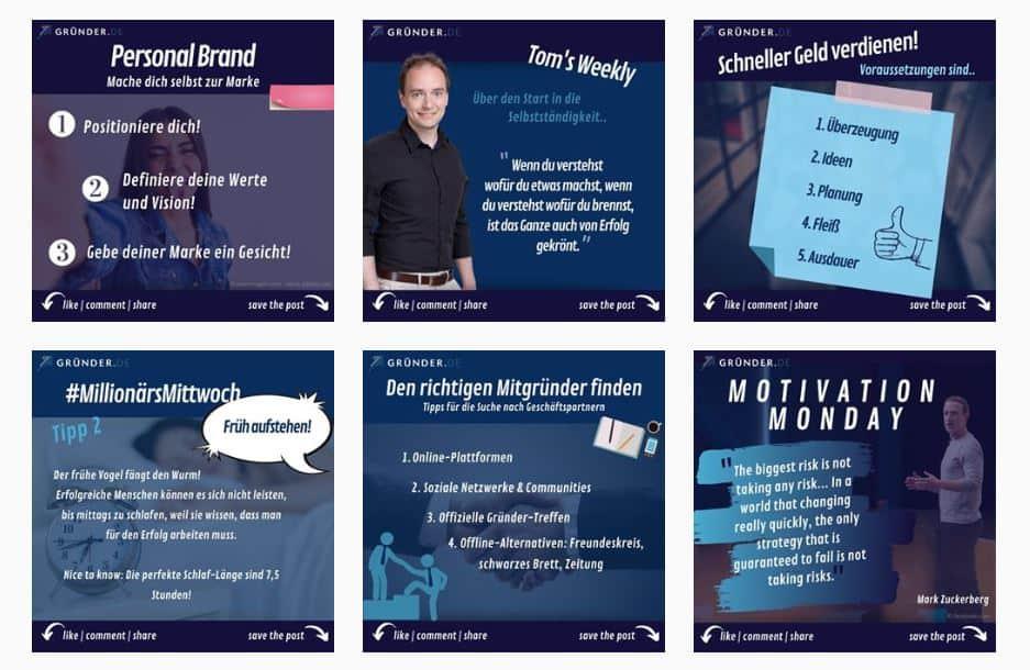 Gründer.de Instagram-Feed - Vorlage für mehr Instagram-Follower bekommen