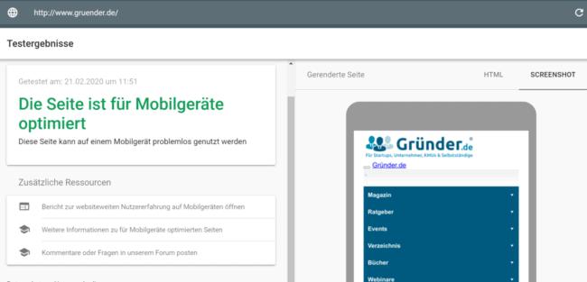 Mobile-Friendly-Test Gründer.de