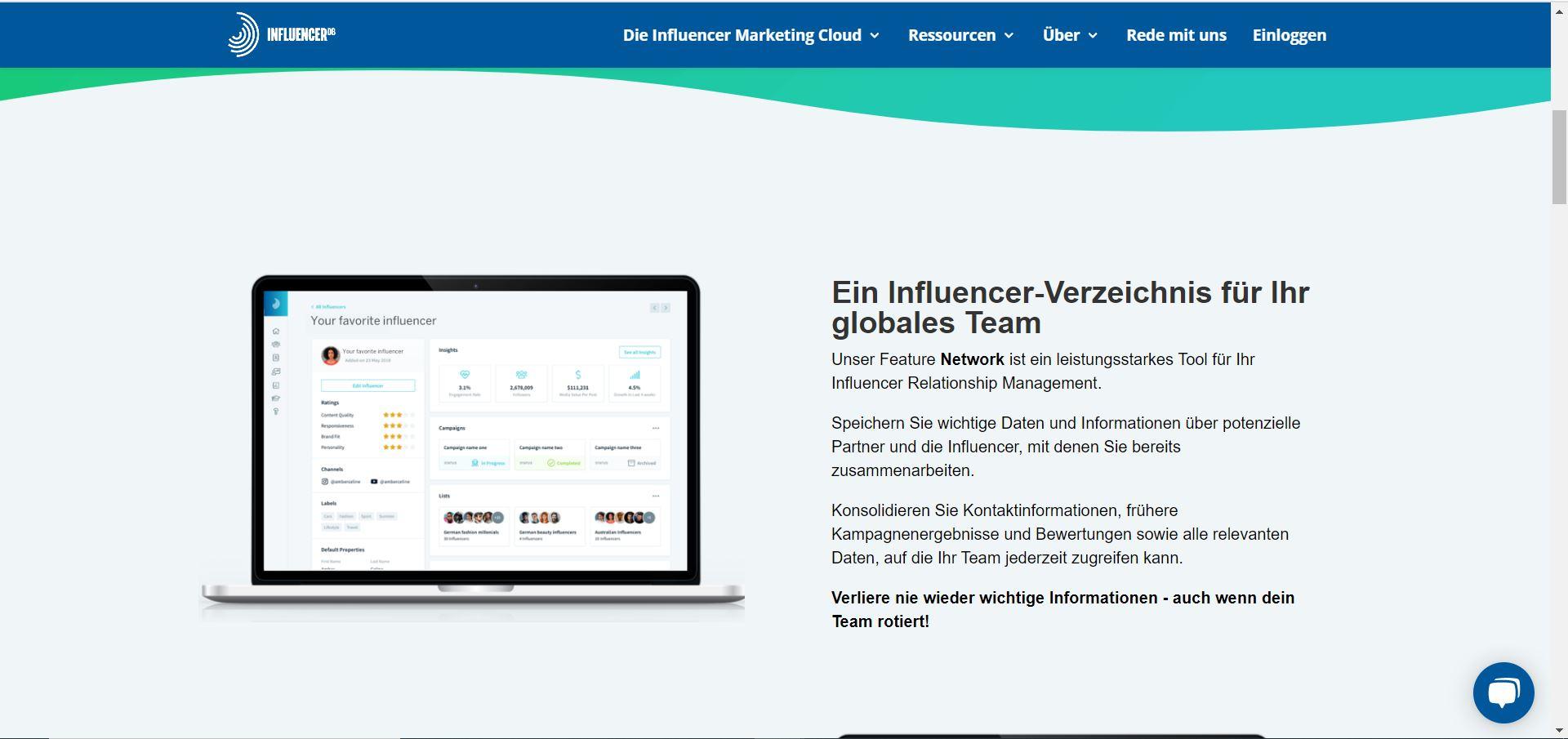 Tool für Influencer-Marketing.