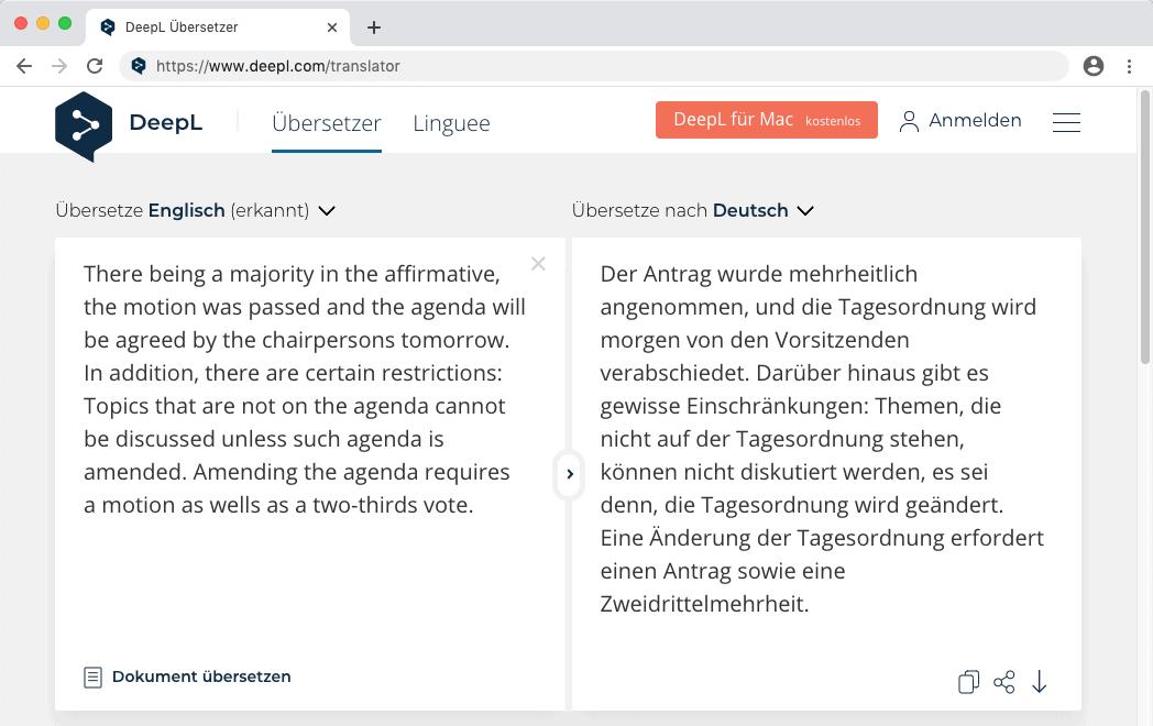 Der Übersetzer DeepL kann durch ein Update nun seine Konkurrenten schlagen.