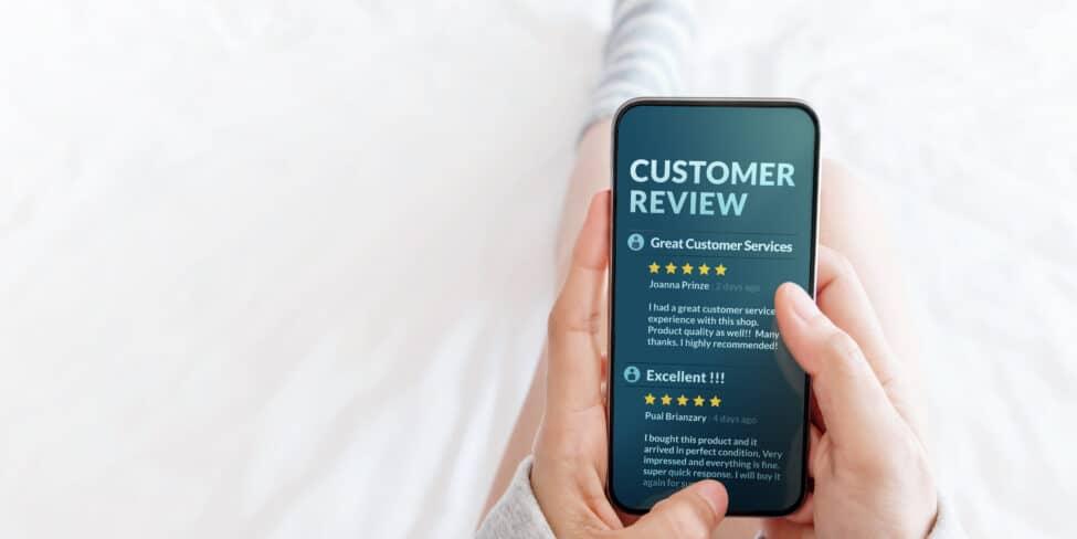 Du sollten die Möglichkeit für Kundenbewertungen auch über Apps anbieten.