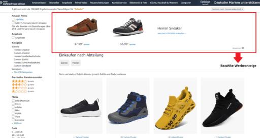 Amazon Werbung für Schuhe